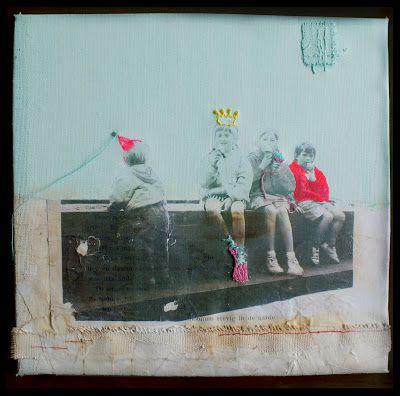Het artistieke vrijgezellenfeestje - collage en image transfer