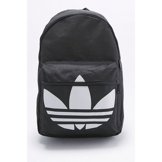 adidas Originals Classic Trefoil Black Backpack (€36) ❤ liked on Polyvore featuring bags, backpacks, black, flat bags, padded bag, adidas originals bag, round bag and polyester backpack