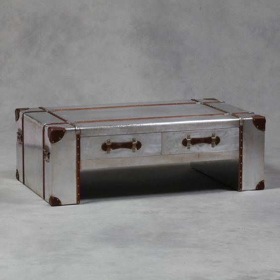 Large Industrial Vintage Style Silver Metal Travel Trunk Coffee Table - New   eBay