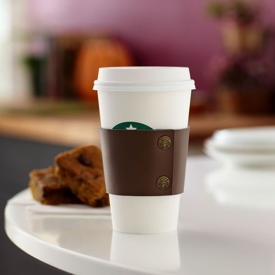 A recycled leather cup sleeve for your hot beverage to keep hands cool.