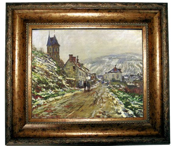 monet vetheuil in the winter antique gold framed canvas print 8x10