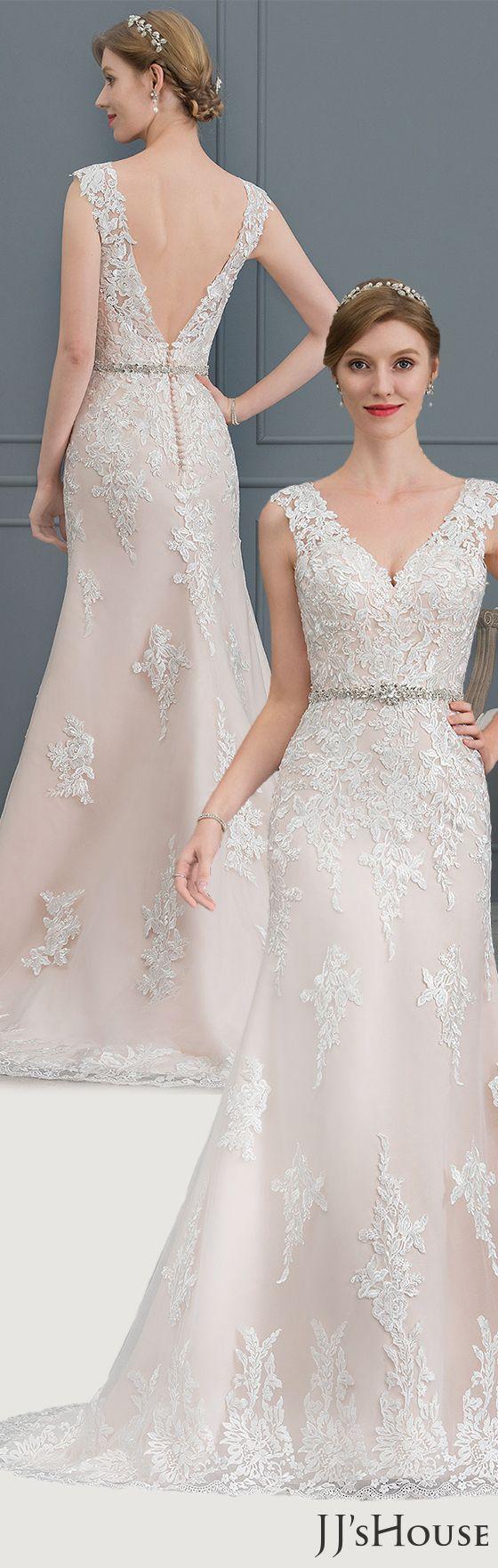 Us 321 00 Trumpet Mermaid V Neck Court Train Tulle Wedding Dress Jj S House Wedding Dresses Tulle Wedding Dress Tulle Wedding [ 1762 x 560 Pixel ]