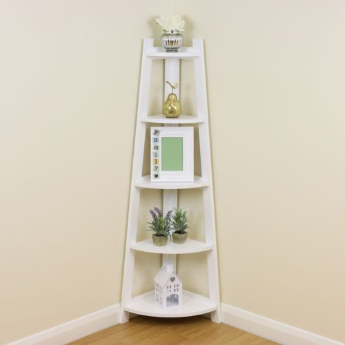 Details About White 5 Tier Tall Corner Shelf Shelving Unit Display Stand Home Bathroom Lounge Tall Corner Shelf Wooden Corner Shelf Corner Shelves