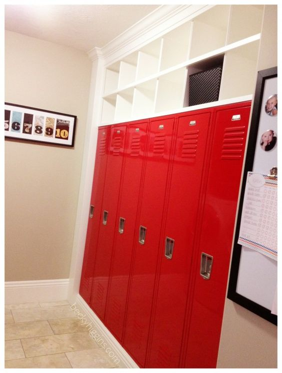 """via becky higgins - her friend Jen. It isn't realistic that I'll put lockers in our house but I LOVE how she uses them: """"Whenever she finds something that belongs to one of the kids (she has 5), she throws it in their locker. Every Saturday the kids are responsible to clean out their lockers and put stuff away."""" My kids are getting a bin/basket or something and we are going to do this."""