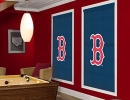 Boston red sox boston red and roller shades on pinterest for Boston red sox bedroom ideas