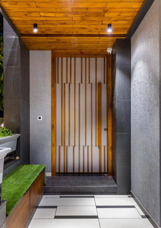 Residence Accentuating Spaces In Frames And Cubes 3 Square Design The Architects Diary In 2020 Main Door Design Front Door Design Door Design
