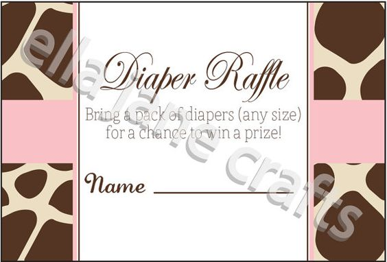 Giraffe and Pink Diaper Raffle Card PDF Instant by EllaJaneCrafts, $4.50
