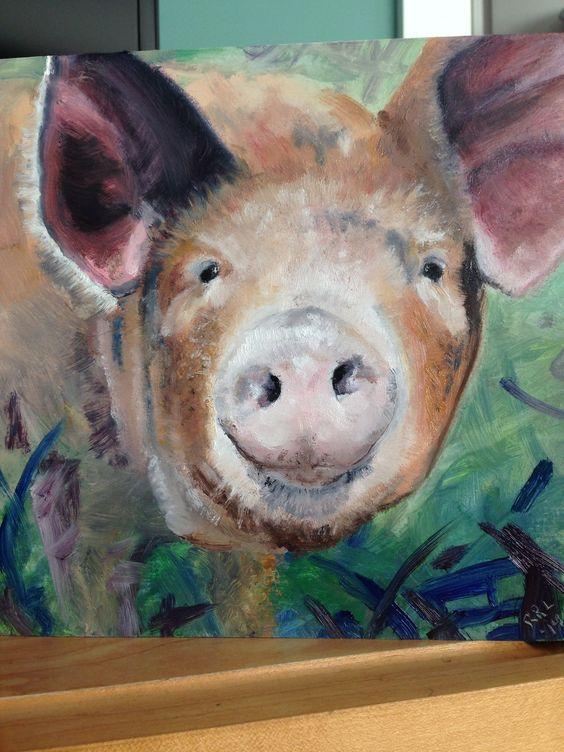 Bartlett pig in oils. R. Lambert
