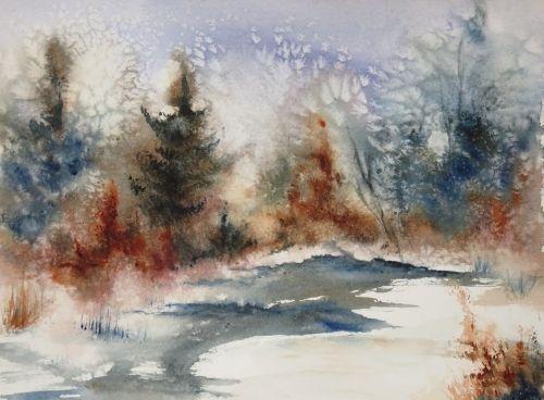 Aquarelle Abby Neige Paysage Arbres Chemin Foret Sous Bois Etang Lac