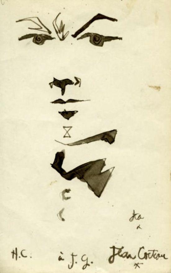 """Portrait of Jean Genet Free sheet in the 1st edition of """"Le Miracle de la Rose à l'Arbalète"""""""