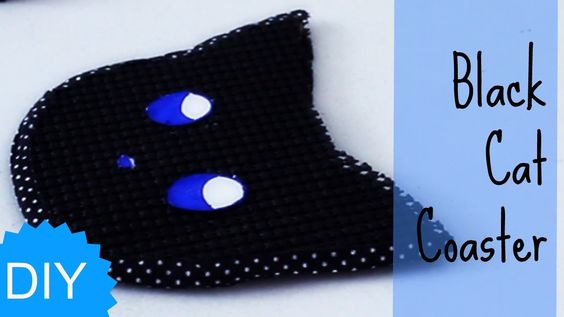 Easy Halloween DIYs - Black Cat Coaster