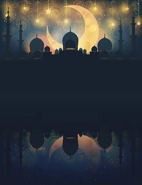 Mosque silhouette in night sky with crescent moon and star vector art illustration  رمضان کریم