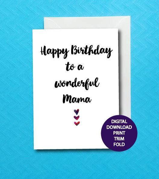 Happy Birthday Mama Card Printable Mama Birthday Card Mothers