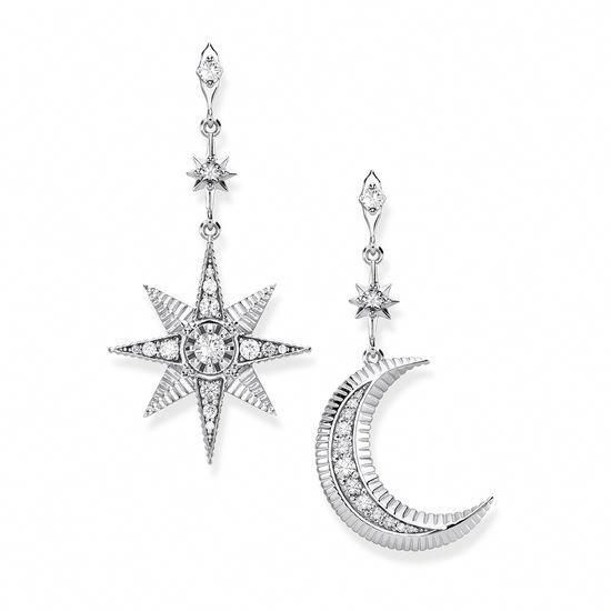 Crescent Moon /& Star Stud Earrings Sterling Silver 925 Dream Dictionary Jewelry
