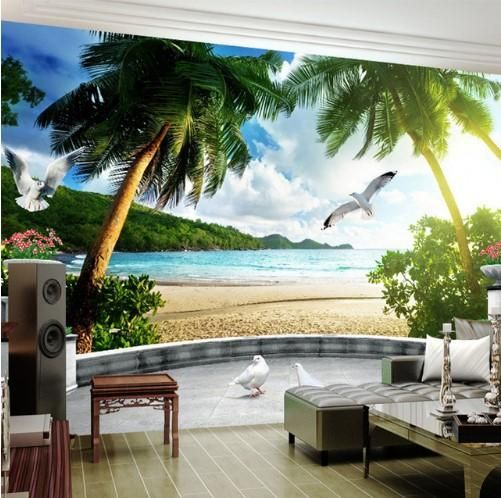3d Photo Wall Mural Balcony Island Beach Scene Wallpaper For Home Or Business Beach Scene Wallpaper Beach Wallpaper Home Wallpaper