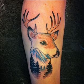 This awe-inspiring stag/landscape combo. | 33 Amazing Tattoos For The Animal-Lover In You