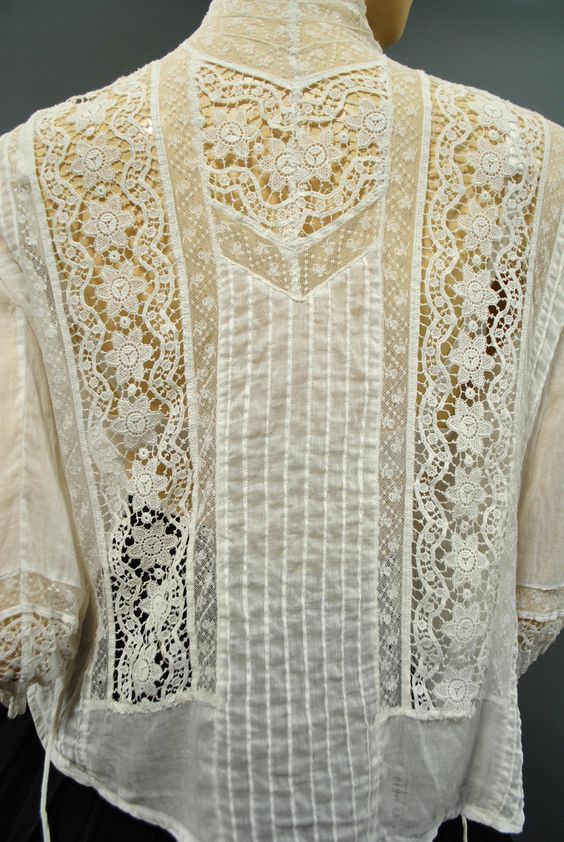 Antique 1900s Victorian Edwardian LACE Embroiderd BLOUSE High Neck Dress TOP via Etsy.: