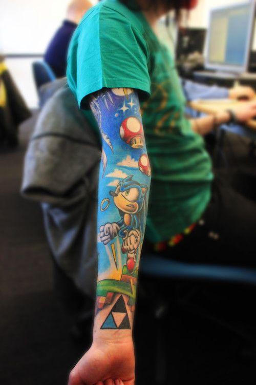 Arm sleeve: Body Mod, Tattoo Sleeve, Awesome Tattoo, Sleeve Tattoo, Video Game Tattoo, Videogame, Geek Tattoo, Gamer Tattoo
