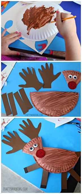 Einfaches Bastelprojekt: Rentier aus einem Pappteller Das braucht man: Pappteller Braune Malfarbe Braunes und rotes Tonpapier Kulleraugen Roter Glitzer Und so geht's: das Bild erklärt alles. Gefunden auf Pinterest– Originalbeitrag weiterlesen →