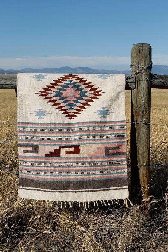 Vintage Wool Navajo Style Saddle Blanket or Rug Woven Ethnic