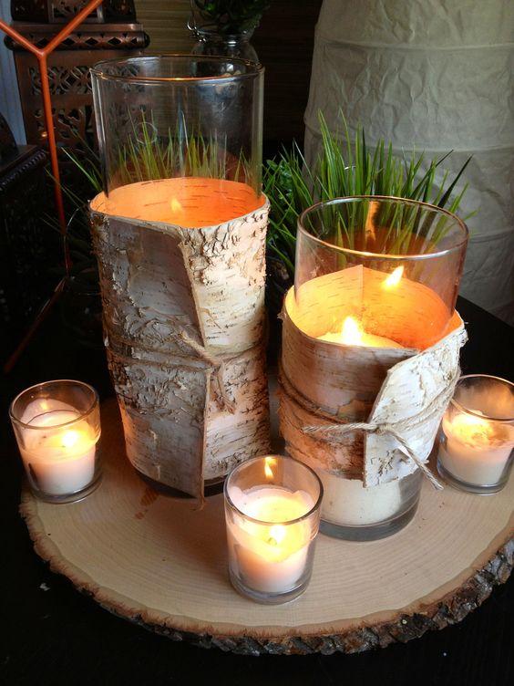 Birch bark wedding centerpiece wood wrapped vase quot x