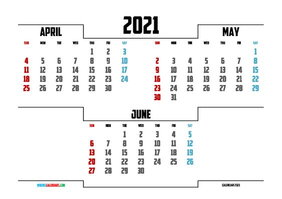free printable april may june 2021 calendar