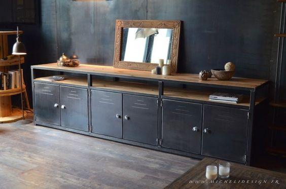 Enfilade meuble de rangement acier bois 3m