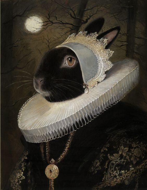 Illustration et peinture à la gouache d'une dame lapin de la haute société peinte par le peintre américain Bill Mayer: