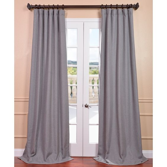 Exclusive Fabrics Light Grey Linen Curtain Panel by Exclusive ...