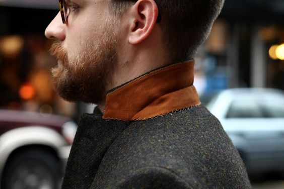Gr8 tweed coat + Loving the colors of the glasses - suede collar - & beard :)