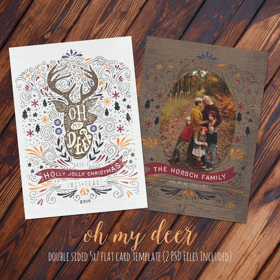 5x7 Holiday Oh My Deer Christmas Card - Photoshop PSD by KayleeBugDesign on Etsy