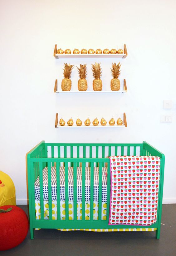 We're seeing fruit everywhere! And we love this kelly green Carousel Crib {@The Land of Nod's Fall Collection}