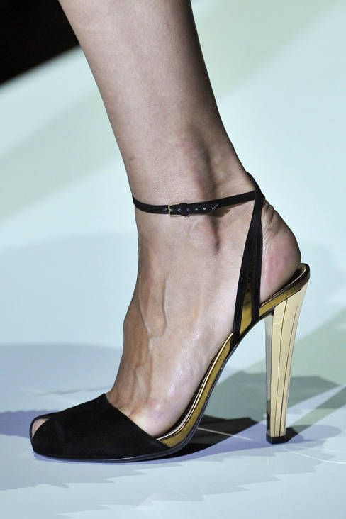 Gucci Spring 2012 RTW - black suede ankle strap w/ gold heel
