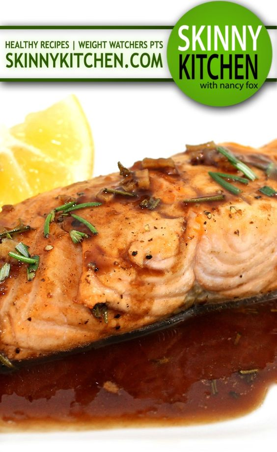 Amazing Balsamic Glazed Salmon. It's one of the best you'll ever taste. It's truly delicious! Each serving has 276 calories, 9g fat and 7 Weight Watchers POINTS PLUS. http://www.skinnykitchen.com/recipes/amazing-balsamic-glazed-salmon/