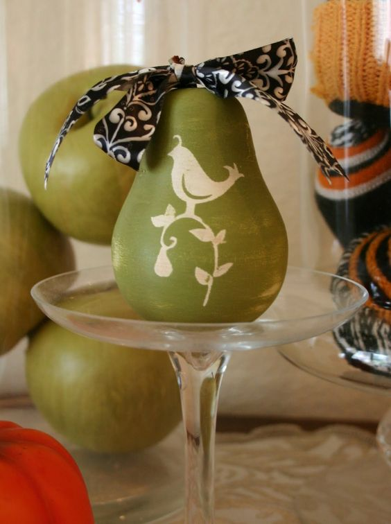 A Partridge in a Pear Tree hand painted for the holidays.