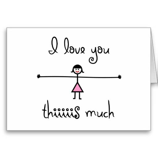 I Love You This Much Card! A cute line drawing cartoon ...