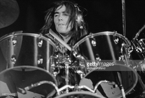 English drummer Nigel Olsson performing at Elton John's Christmas show at the Hammersmith Odeon, London, 21st December 1973.