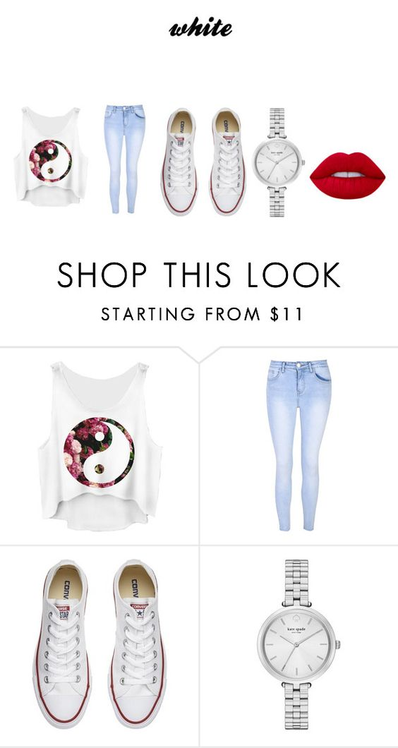 """""""white"""" by bamalife on Polyvore featuring Glamorous, Converse, Kate Spade and Lime Crime"""