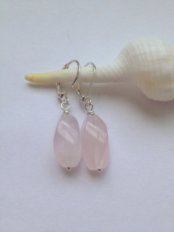 Twisted Rose Quartz silver plated earrings  Pink by Earlyne81, $20.00
