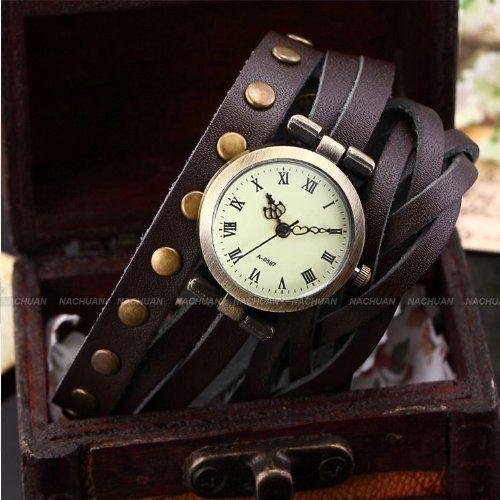 AMPM24 Montre Quartz Vintage Style Bracelet Cuir PU Rivet Rock Retro Marron -WAA341: Amazon.fr: Montres