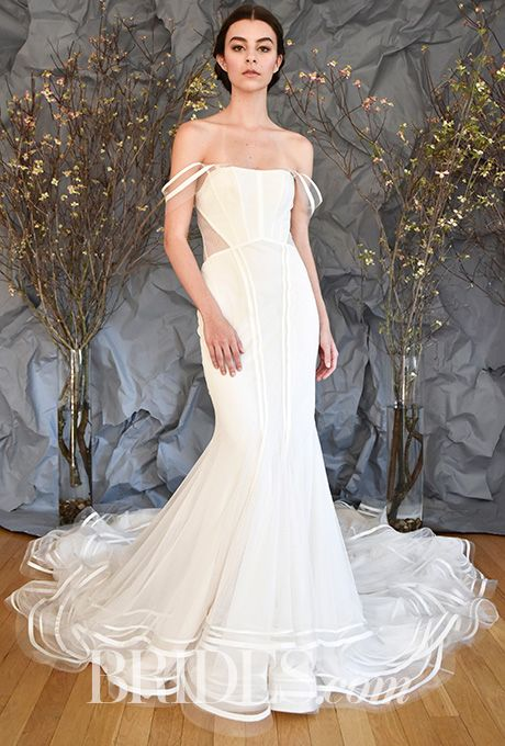 """Brides.com: . """"Allegra,"""" Style AS91, soft crepe and bobbinet trumpet gown with a sheer back, French corset, grosgrain ribbon detailing, Austin Scarlett"""