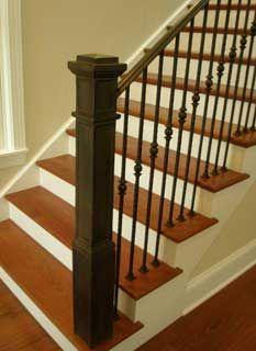 Best Oak Square Newel Posts Forged Steel Railing W Cast Newel 400 x 300
