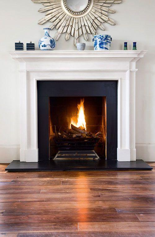 White Fire Surround Part - 39: Also Like The Floors But Prefer Hearth Flush With Wood Floor, Prefer  Herringbone Brick Pattern Inside | Fireplace Ideas | Pinterest | Fire  Glass, ...