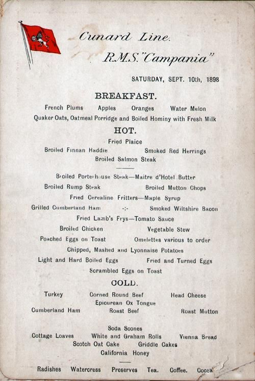 Breakfast Menu Card And LiquorTobacco List RMS Campania
