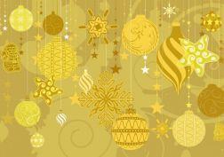 yellow Christmas holidays decorations - background