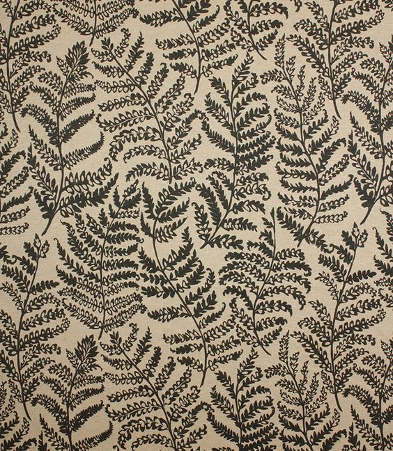 Fougeres Fabric / Noir | Upholstery, Ferns and Curtain fabric