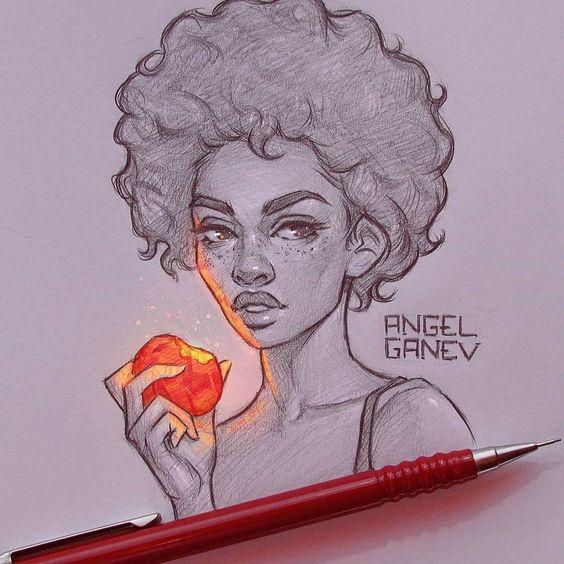 Retratos de desenho com um flash de cor - Arte no Papel Online