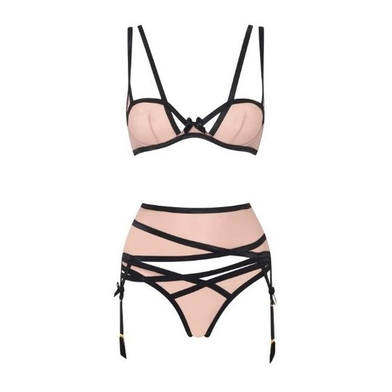 Agent Provocateur Joan Brief Nude/Black (150 BRL) ❤ liked on Polyvore featuring intimates, panties, lingerie, underwear, agent provocateur, undergarments, new in, nude, polish lingerie and wetlook lingerie