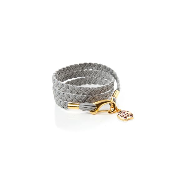 WRAPPED WAX ROPE BRACELET - MIDNIGHT - 100% COTTON, DISTRESSED GOLD ELECTROPLATED.  PREMIUM GREY WAX WRAP BRACELET WITH GOLD RASTACLAT CHARM.  $24.99