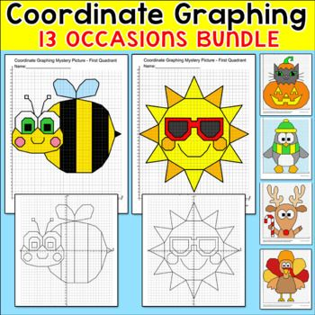 "Practice plotting ordered pairs with these fun and engaging coordinate graphing mystery pictures for seasons and special occasions throughout the entire school year! There are 13 pictures included. These activities are perfect for morning work, math centers, early finishers, substitutes, and homework. Teachers have commented: ""So fun!:"